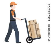 man and crate on handcart icon  ... | Shutterstock .eps vector #1162381723