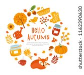 hello autumn  fall greeting... | Shutterstock .eps vector #1162390630