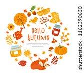 hello autumn  fall greeting... | Shutterstock .eps vector #1162390630