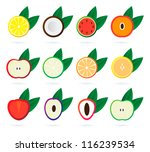 fruit icon set | Shutterstock .eps vector #116239534