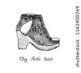 clog ankle boots  isolated hand ... | Shutterstock .eps vector #1162400269