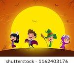 group of kids in halloween... | Shutterstock .eps vector #1162403176