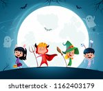 group of cartoon kids in... | Shutterstock .eps vector #1162403179