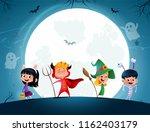 group of cartoon kids in... | Shutterstock .eps vector #1162403179