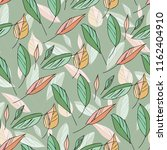 leaves seamless pattern. hand... | Shutterstock .eps vector #1162404910