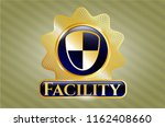 gold shiny emblem with shield  ... | Shutterstock .eps vector #1162408660