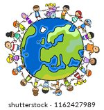 multicultural group of children ... | Shutterstock . vector #1162427989