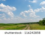 country road and pasture with...   Shutterstock . vector #116242858
