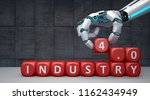 a robot hand with red cubes... | Shutterstock . vector #1162434949