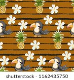 exotic pattern with cute toucan ... | Shutterstock .eps vector #1162435750