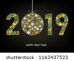 2019  happy new year greeting... | Shutterstock .eps vector #1162437523