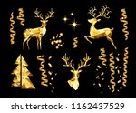 christmas collection of golden... | Shutterstock .eps vector #1162437529