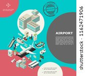 isometric airport elements... | Shutterstock .eps vector #1162471906