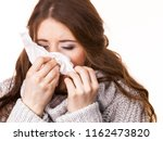 sick freezing woman sneezing in ... | Shutterstock . vector #1162473820