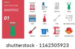flat style icon pack for bakery ... | Shutterstock .eps vector #1162505923