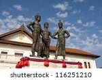 Three Kings Monument  with art and culture building , landmark - stock photo