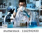 scientist pipetting samples in... | Shutterstock . vector #1162542433