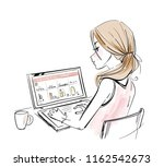 beauty blogger   wooman with... | Shutterstock .eps vector #1162542673