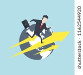 businessman running on an arrow ... | Shutterstock .eps vector #1162544920