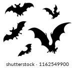 a set of halloween bats flying... | Shutterstock . vector #1162549900