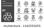 outline style icon pack for... | Shutterstock .eps vector #1162552693