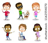 multiethnic disabled children... | Shutterstock .eps vector #1162554070