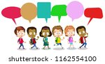 group of happy multicultural... | Shutterstock .eps vector #1162554100