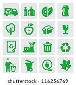 vector green eco energy icons... | Shutterstock .eps vector #116256769