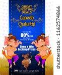 happy ganesh chaturthi festival ... | Shutterstock .eps vector #1162574866