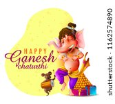 happy ganesh chaturthi festival ... | Shutterstock .eps vector #1162574890