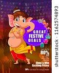 happy ganesh chaturthi festival ... | Shutterstock .eps vector #1162574893
