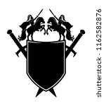 black shield and swords on a... | Shutterstock .eps vector #1162582876