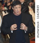 LONDON - FEBRUARY 12:  Actor Sylvester Stallone meets fans at the UK gala premiere of 'Rambo' at the Vue cinema, Leicester Square on February 12, 2008 in London, England. - stock photo