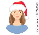 christmas woman in santa claus... | Shutterstock .eps vector #1162588306