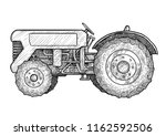 tractor illustration  drawing ... | Shutterstock .eps vector #1162592506