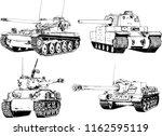 powerful tank with a gun drawn... | Shutterstock .eps vector #1162595119