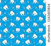 seamless pattern with tooth and ... | Shutterstock .eps vector #1162603816