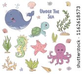 under the sea stickers... | Shutterstock .eps vector #1162618573
