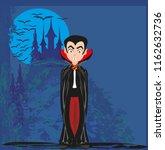 cartoon vampire with a castle... | Shutterstock . vector #1162632736