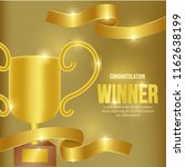 golden trophy winner with... | Shutterstock .eps vector #1162638199