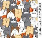 Stock vector pattern of different cats mile seals with different color red cat black cats striped cats 1162643443