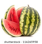 Sliced Ripe Watermelon Isolate...