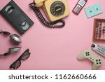 retro objects on pink... | Shutterstock . vector #1162660666