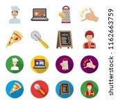 a pizza cutter  a slice  a menu ... | Shutterstock . vector #1162663759