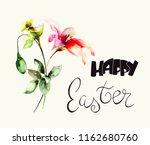 stylized flowers watercolor...   Shutterstock . vector #1162680760