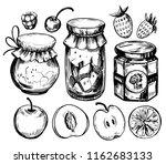 fruit jam jar with berries and... | Shutterstock .eps vector #1162683133