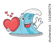 with heart cartoon blue wave... | Shutterstock .eps vector #1162684276