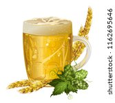 glass mug of beer with barley... | Shutterstock .eps vector #1162695646