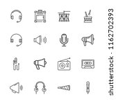 collection of 16 audio outline... | Shutterstock .eps vector #1162702393