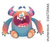 happy cartoon monster. vector... | Shutterstock .eps vector #1162720666